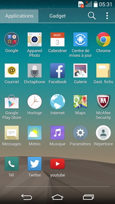 Configuration Android LG