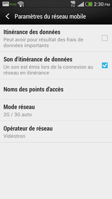 Configuration Android HTC